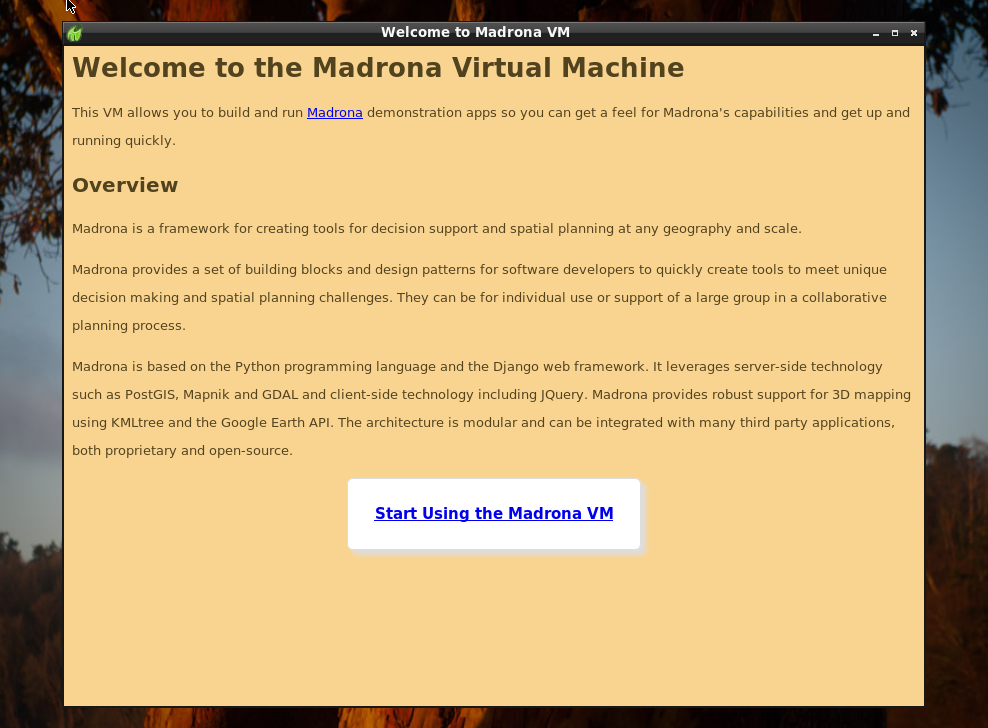 Madrona VM startup screen